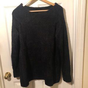 NWT Loft Black Furry Sweater